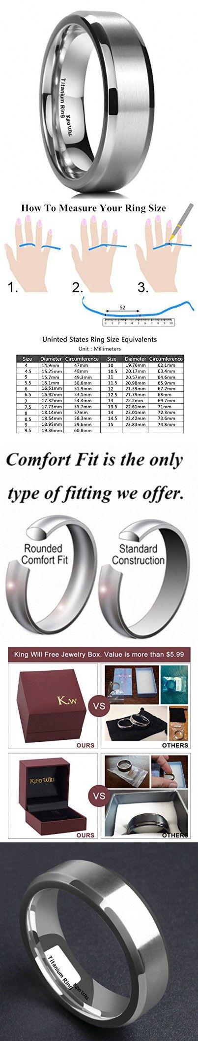 King Will 7MM Titanium Ring Brushed/Matte Comfort Fit Wedding Band For Men (12.5)