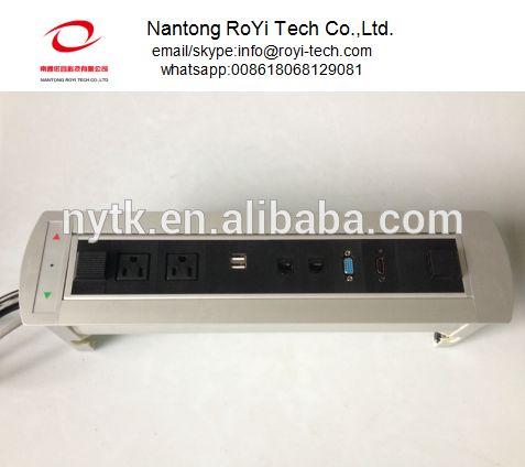 furniture Motorized Socket 2 US outlet USB INTERNET DATA(RJ45) HDMI VGA