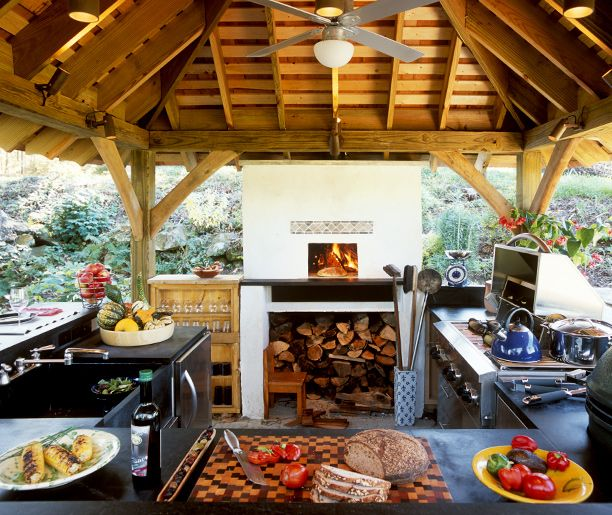 Wood fired pizza oven, gas grill, side burners, charcoal cooker, electric smoker, sink, fridge, all outdoors!  OK When do I start construction?