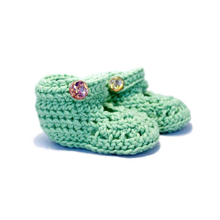 Extra Soft Crochet Baby Mary Jane Booties 0-3M: Mint K1013 by KorkeKids on Etsy