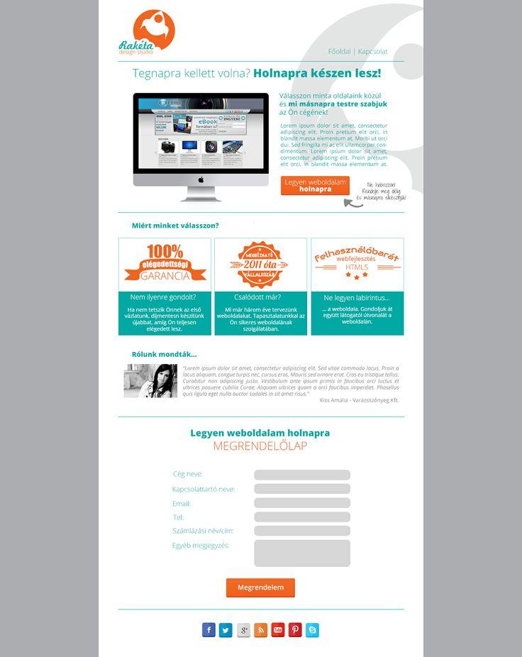 Rakéta Design sales weboldal layout