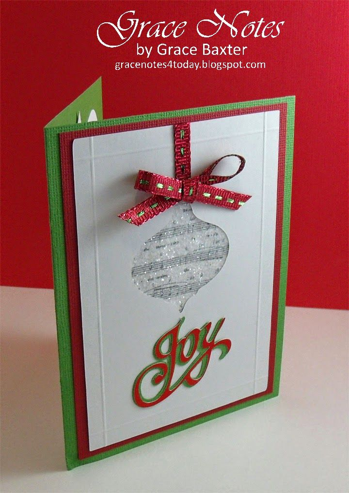 """Sparkly musical ornament card features real music score from the Christmas carol, """"Angels We Have Heard on High"""". Red, white and green with a modern twist. Visit the blog for more details."""