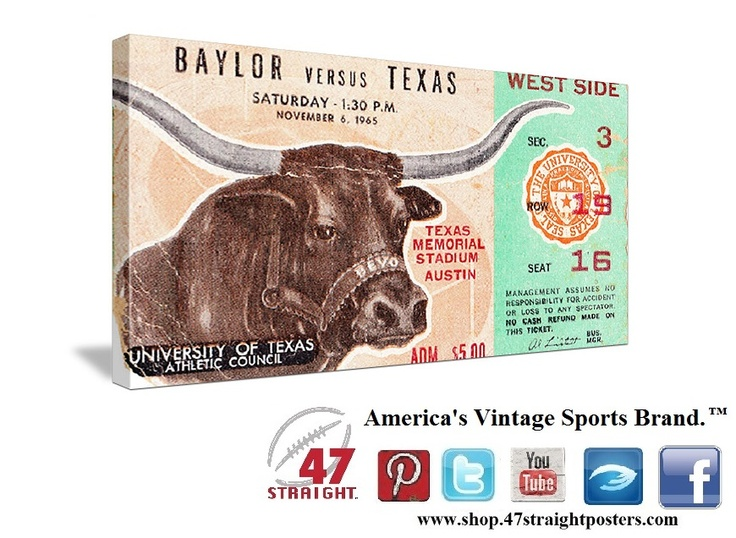 Father's Day gift ideas. 1965 Baylor vs. Texas Football Ticket Art.™ The Longhorns won 35-14 in Austin. Texas Longhorns gifts. Texas Longhorn gift ideas. Texas Father's Day gifts made from authentic vintage Texas football tickets. Best Father's Day gift ideas of 2013! Game room art that Dad will love! #47straight #football #gifts #fathersdaygifts