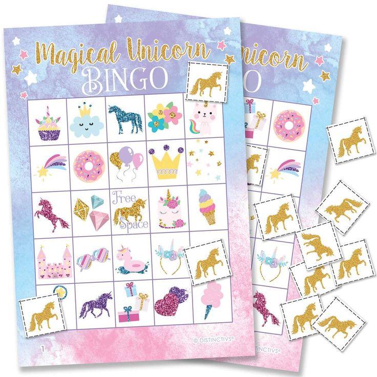 Unicorn Party Bingo Game, 24 Players Unicorn party