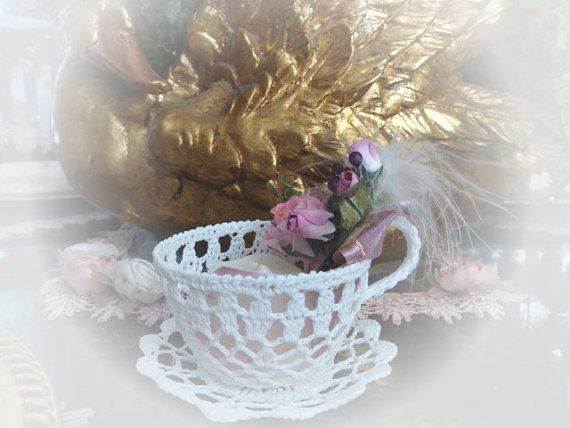 Shabby Chic Crocheted Tea Cup and Saucer by VictorianDesign....my mom could make beautiful crochet sugar bowls.........