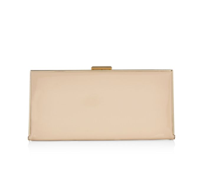 For rehearsal dinner outfit: BLOSSOM HARDCASE CLUTCH BAG 9899390600 £25.00 Nude color Blossom hard-case clutch bag. Designed with a metal frame and clasp, this party-perfect piece is lined in smooth satin, and features a concealable chain shoulder strap.