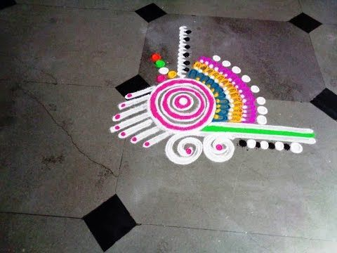 beautiful & fancy latest rangoli - K228 - YouTube