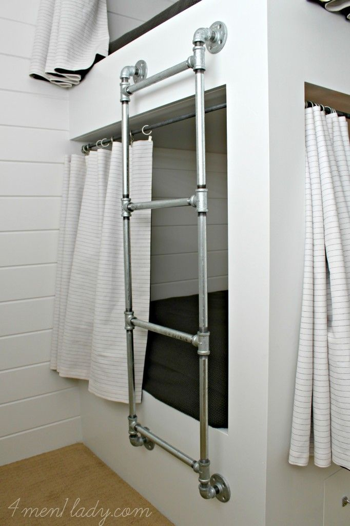 Bunk bed ladder made from Plumbing Pipe - 4men1lady.com