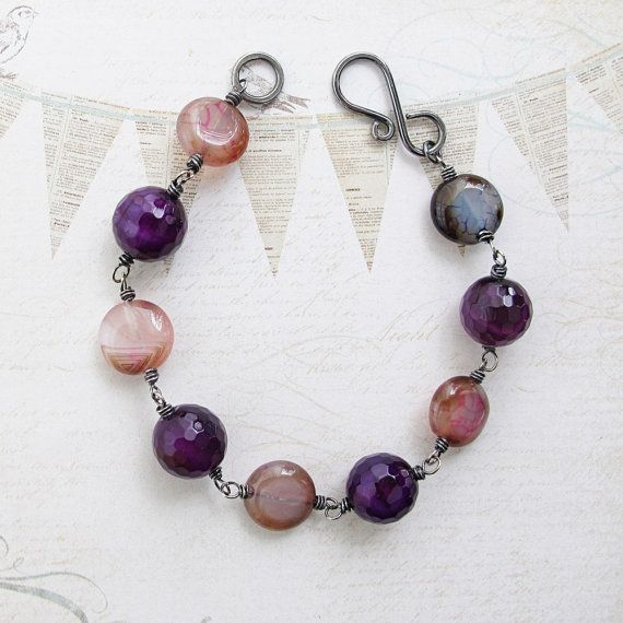 Stone Bead Bracelet Pink and Purple Agate by jFrancesDesign
