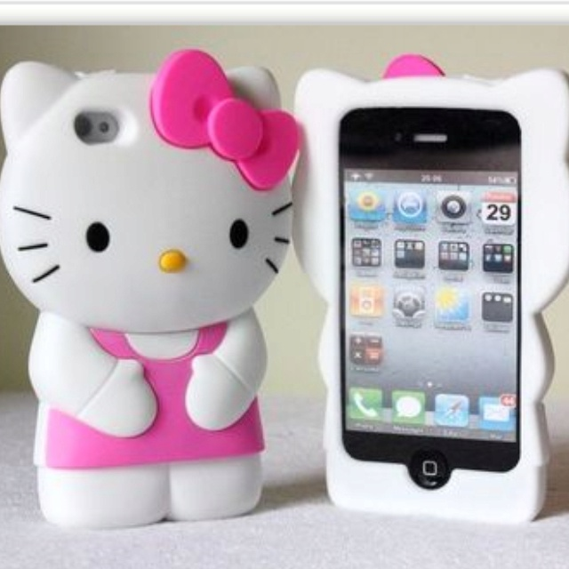 Pink 3D Fashion Cute Soft Silicone Hello Kitty Case Cover Skin for iPhone4 4G 4S