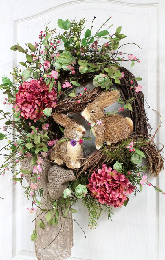 Easter Door Wreath, Primitive Country Wreath, Easter Wreaths, Easter Bunnies, Easter Pip Berries, Easter Decor -- FREE SHIPPING