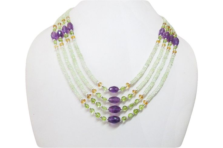 Designer multi strand gemstone beads necklace, Natural Amethyst, Citrine, Peridot & Prehnite beads necklace jewelry, Amethyst beads jewelry by anushruti on Etsy