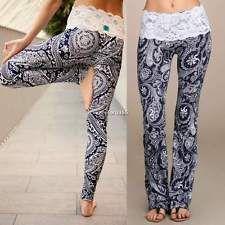Damen BOHO Floral Hohe Taille Lange Hose Palazzo Freizeithose Locker Yoga Hose