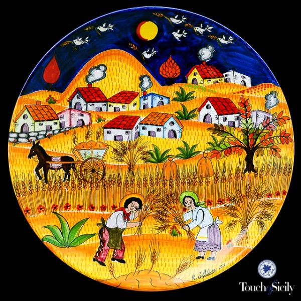 Italian ceramics - Decorative Plate Harvesting - $615,00