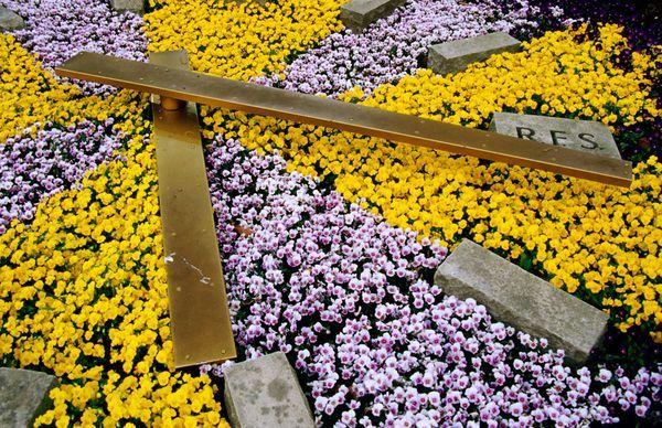 Floral clock at Krohn Conservatory, Eden Park.