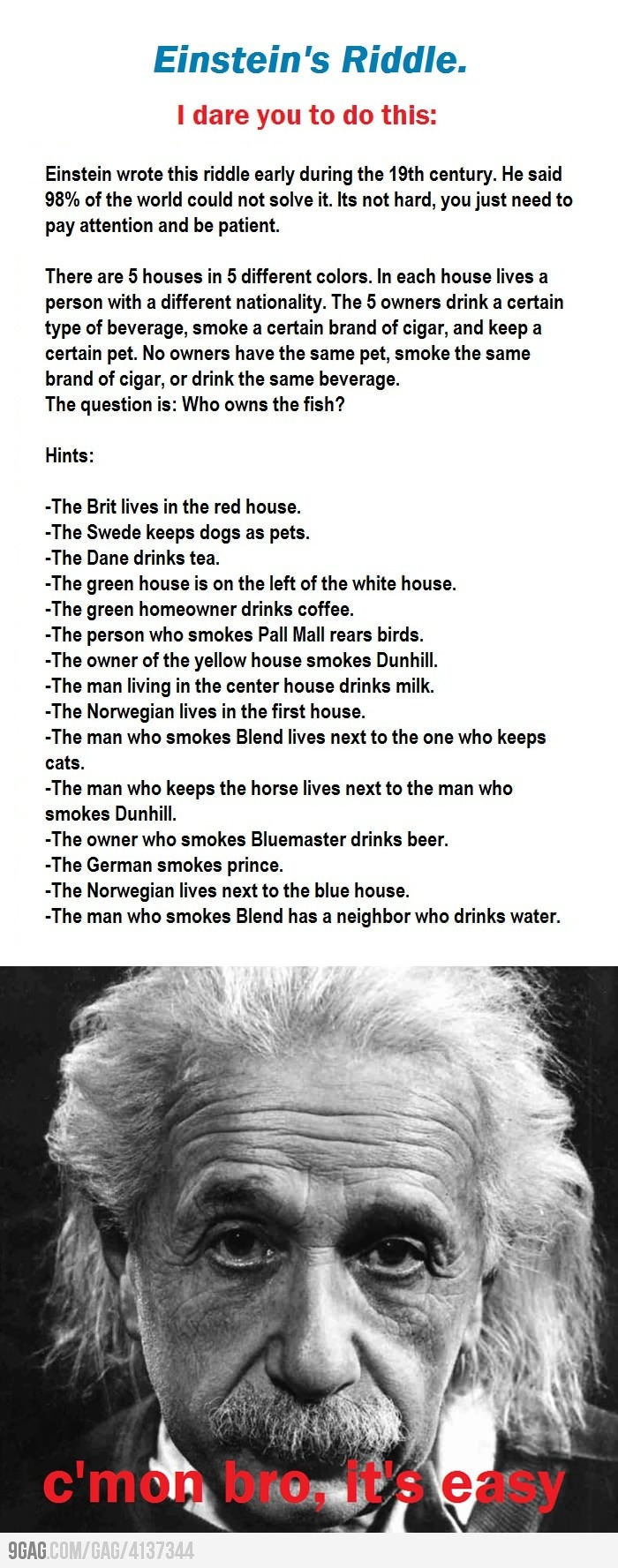 Einstein's riddle - it took me like 40 minutes to figure out >_<  DON'T POST THE ANSWER IN THE COMMENTS!