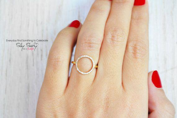Open Circle Diamond Ring 14K Gold White Diamonds by SillyShiny, $788.00