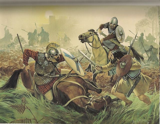 A late Roman Empire cavalryman is attacked by two Picts. - art by Angus McBride