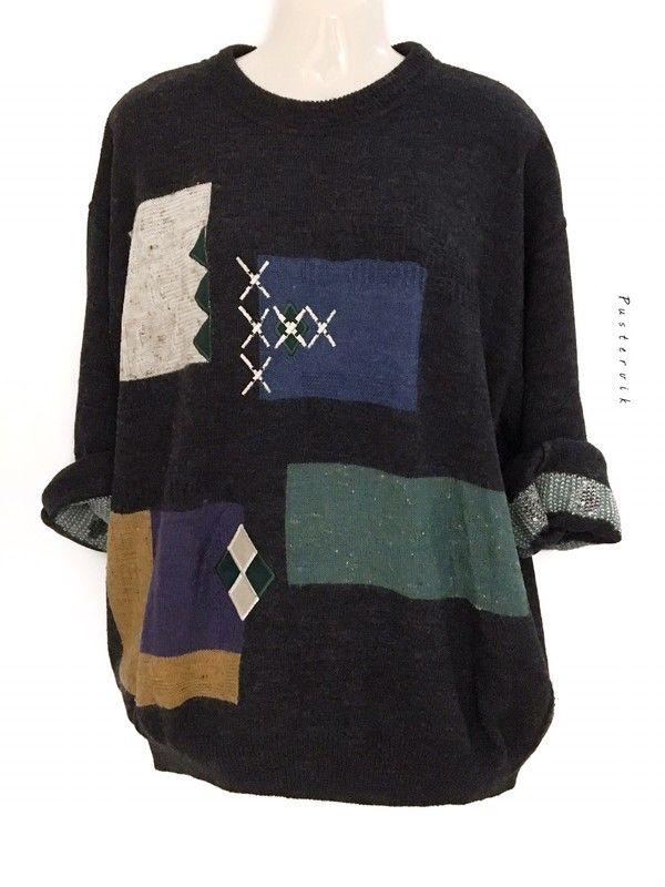 Mein Vintage Oversize Hipster Pullover Muster Pulli Urban Berlin Style Grau von true vintage! Größe Uni für 32,00 €. Sieh´s dir an: www.kleiderk…