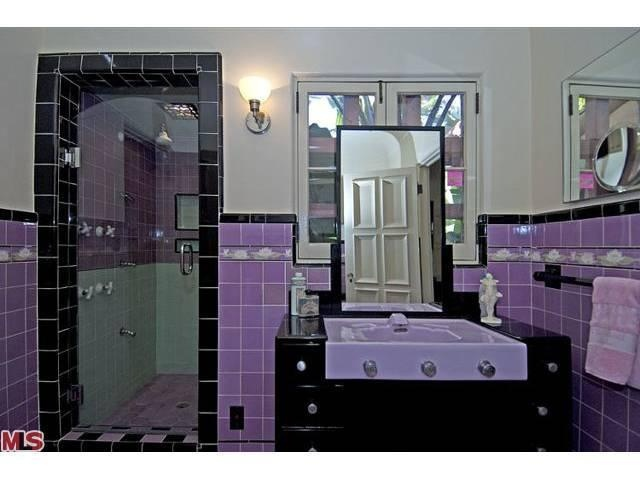 art deco purple and black tiled bathroom - Bathroom Accessories Los Angeles