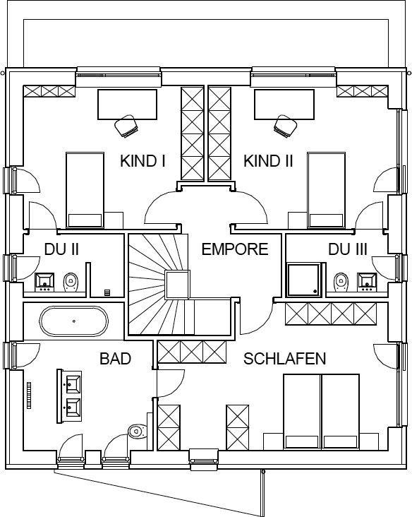moderne Stadtvilla Grundriss mit 82,66 m² Wohnfläche im Obergeschoss