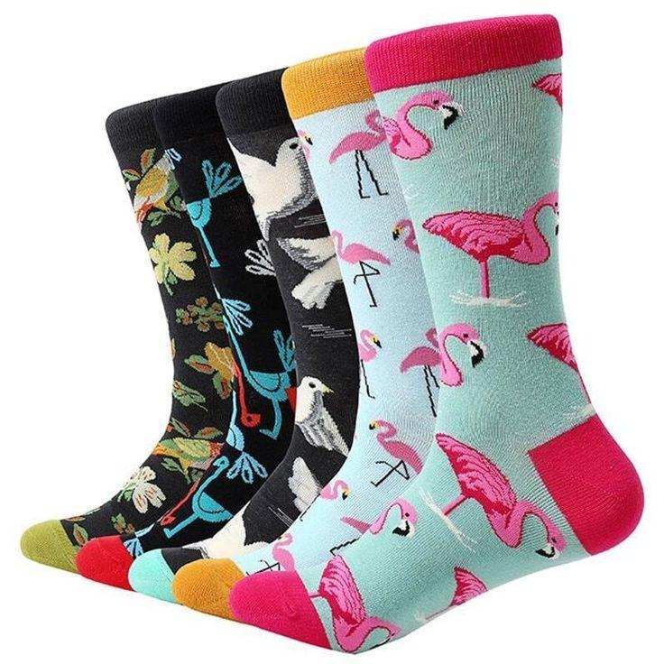 5 Pair Men Color Dress Socks Fun Colorful Crazy Rainbow