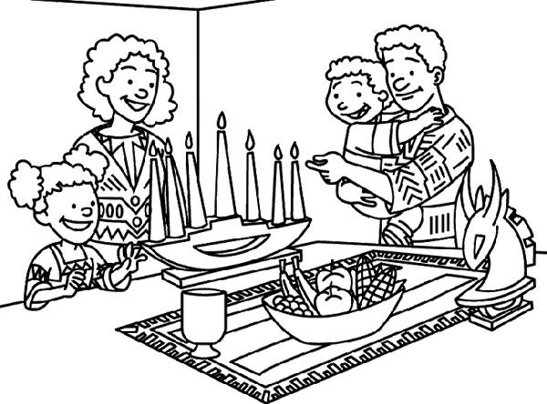 lighting the kwanzaa coloring page