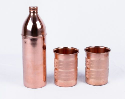 INDIAN COPPER WATER BOTTLE WITH TWO GLASS SET PURE AND ENERGIZED WATER HEALTH