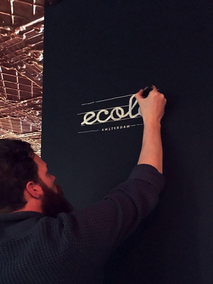 Chalkboard art en menukaart voor restaurant 'Ecole' in Amsterdam, in opdracht van Koffiebranderij Peeze