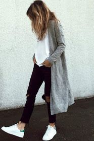 casual style Grey cardigan, white T shirt, black jeans and trainers. Whats not to love!!
