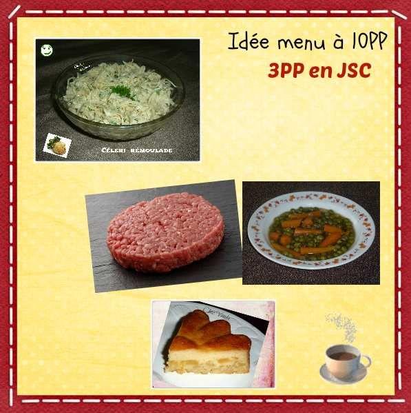 Menu du déjeuner à 10PP Pour 1 JSC , déduire de votre réserve 3PP Céleri rémoulade 120g de petits pois cuits avec des carottes et des feuilles de salade 100g de steak haché 5% 1/6 de ma flognarde aux pommes Café