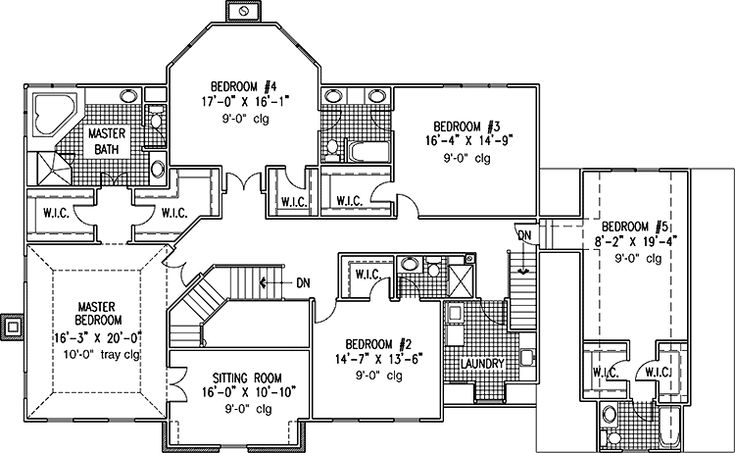 6 bedroom single family house plans print this floor for Single family house plans