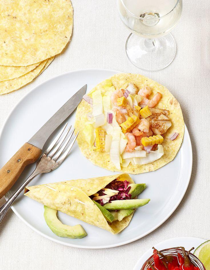 Tacos de poisson, maïs, crevettes pour 6 personnes - Recettes Elle à Table