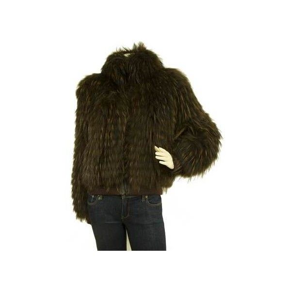 Dark Brown Short Bomber Like Style Genuine Fur Zippered Jacket size 44 via Polyvore featuring outerwear, jackets, fur bomber jacket, brown fur jacket, dark brown jacket, short fur jacket and fur jacket
