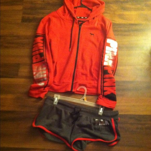 Vs pink zip up hoodie and shorts Red zip up hoodie with reflective writing on sleeves as shown in pic and shorts are grey with pink written in black and reflective silver also Hoodie is a large shorts are a medium any questions just ask :) cheaper on merc Victoria's Secret Tops Sweatshirts & Hoodies