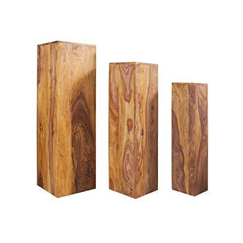 Design Beistelltisch Säule MAKASSAR 3er Set 80cm/70cm/60cm hoch Sheesham Stone Finish Beistelltische Tische