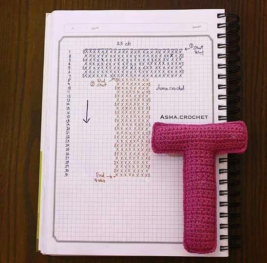 Crochet letter T