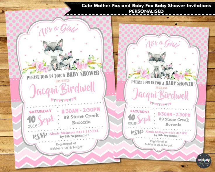 Woodland Forest Animals - Baby Fox and Mummy Fox Baby Shower Invitation - Printed or Digital - Ship Worldwide!  Visit www.lollipoppartysupplies.com.au