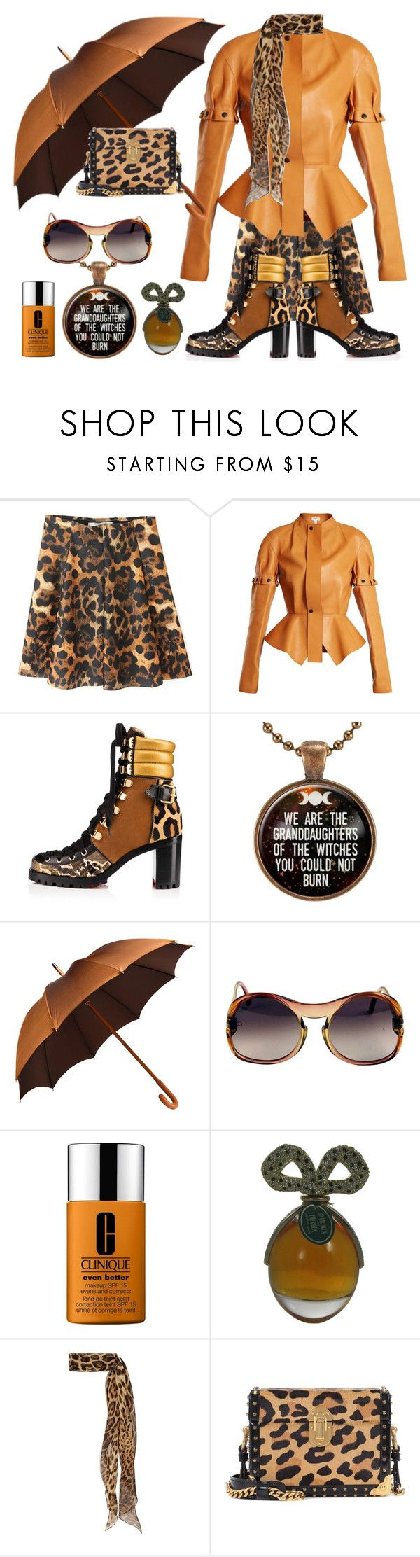 """""""Leopardy jeopardy"""" by didesi ❤ liked on Polyvore featuring WithChic, Loewe, Christian Louboutin, Ghurka, Playboy, Clinique, Yves Saint Laurent and Prada"""