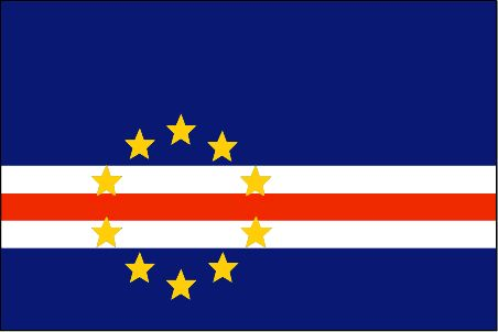 The Cape Verde flag was officially adopted on February 25, 1992.          The gold stars represent the (10) islands of the country. The dark blue represents the Atlantic Ocean and the red stripe - the road to economic progress.