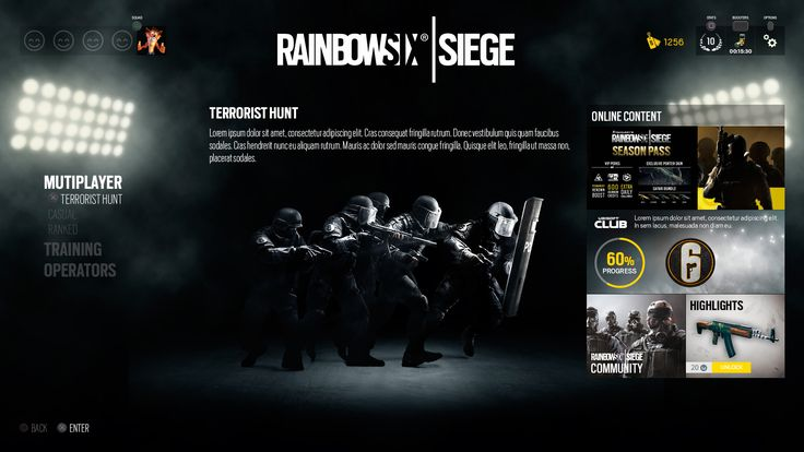 Redesigning Rainbow Six Siege It's onlya proposal of UI/UX design for the game Rainbow Six Siege by Ubisoft. Nothing official, justhow I would like the i