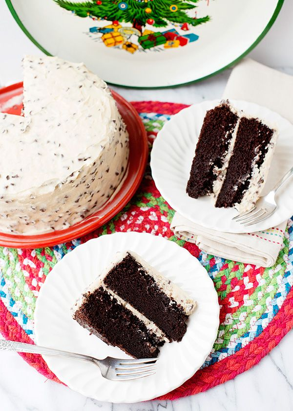 Chocolate Cake with Kahlua Chip Frosting -not generally a fan of chocolate cake but with Kahlua...how could it not be good?