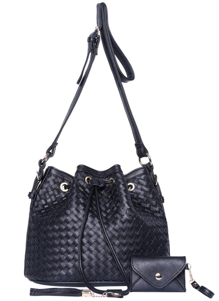 Black Drawstring Woven Shoulder Bag 26.44