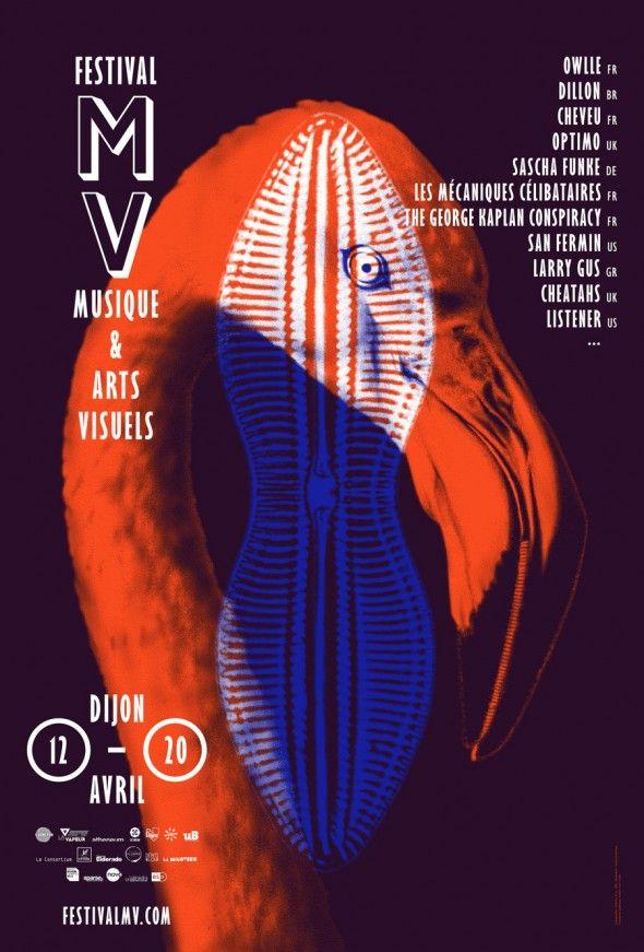 "poster/affiche ""Festival MV"" (2014) by Atelier Tout va Bien (France, Dijon – Mathias REYNOIRD et Anna CHEVANCE)."