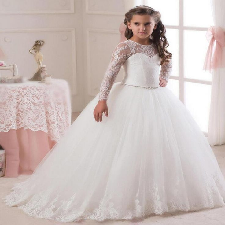>> Click to Buy << Long Sleeve White Pageant Dresses for Girls Glitz Ball Gown Kids Beauty Mother Daughter Dresses Ankle-Length Flower Girl Dress #Affiliate