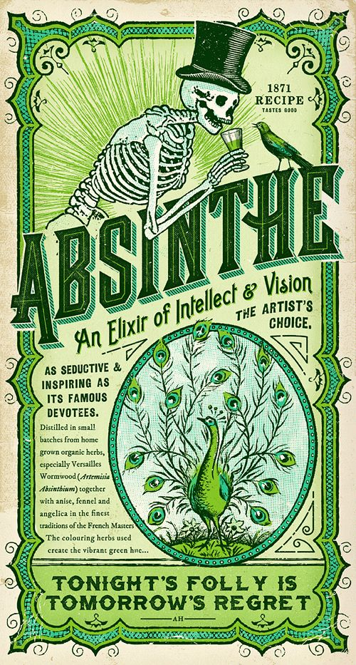"mortisia: """"Absinthe Label & Print"" ""The Cape Town Tattoo Expo in conjunction with Jorgensen's Distillery invited artists to create one-off Absinthe labels as part of the Victorian Oddities exhibition. The bottle was sold at the Expo as well as..."