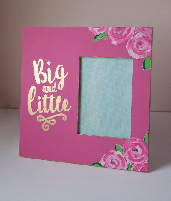 Deluxe BIG LITTLE SORORITY frame reveal painted floral lilly pulitzer roses pink…