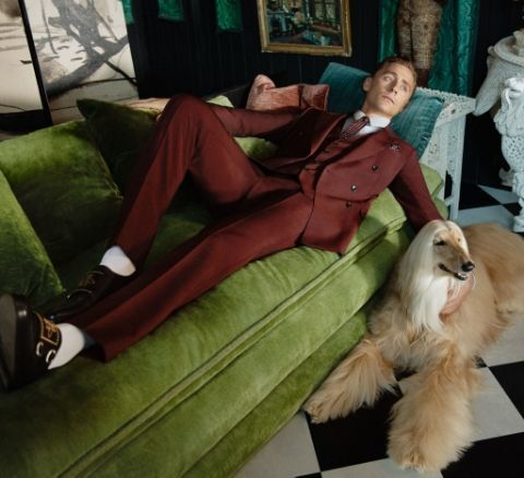 The actor joins a lineup of Afghan hounds in the fashion brand's latest campaign.