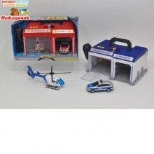 Игровой набор для мальчиков Переносная станция. Служба спасения Dickie Toys оснащен световыми, звуковыми и водными эффектами, рацией и двумя гаражами, 2 вида, от 3 лет