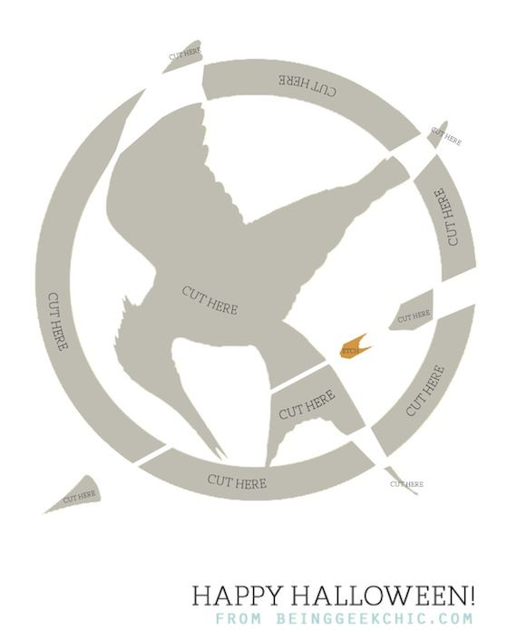 Mockingjay pumpkin carving stencil...so doing this for the carving party this year!